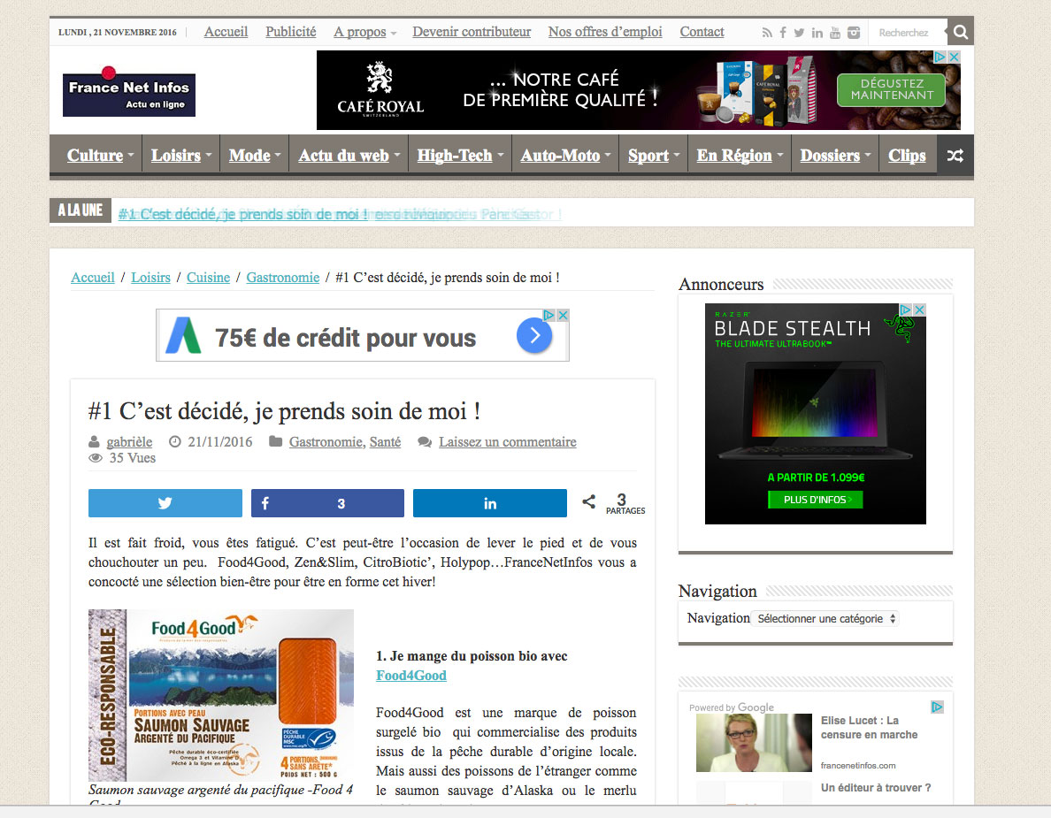 Publication sur France Net Infos