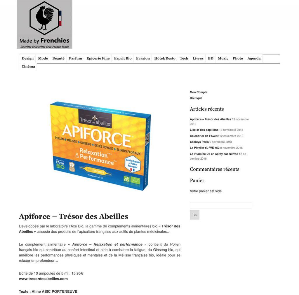 Apiforce est présenté sur le site MADE BY FRENCHIES